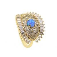 Moda 1.2ct redondo creado ópalo incrustación azul fuego cóctel anillo genuino AAA + zirconia cúbica cz ojo Vintage joyería para las mujeres