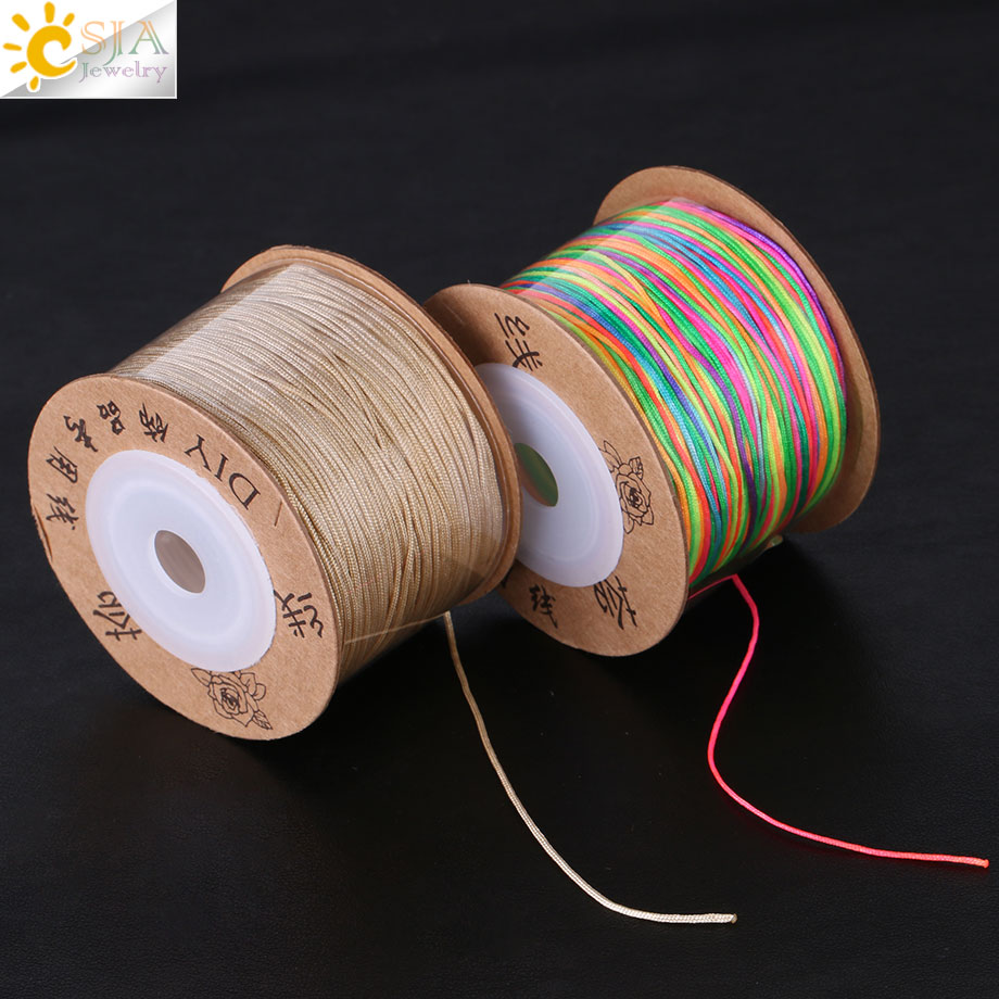 CSJA 90M 17 Color Nylon Cord For Jewellery Bracelet Necklace Braided String DIY Making Thread Women Men Finding Accessories F363