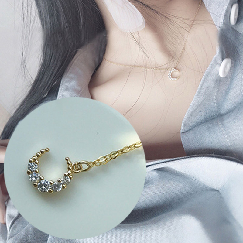 S925 Sterling Silver Cubic Zirconia Moon Pendant Genuine Gold Coated Choker Necklace for Women Wedding Valentine's Day Jewelry
