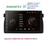 2 + 16 автомобиля gps плеер 1 Din Android 8,1 для BMW E46 M3 318i/320/325/330/335 Rover 75 MG ZT радио аудио; стерео; gps навигации BT 4G