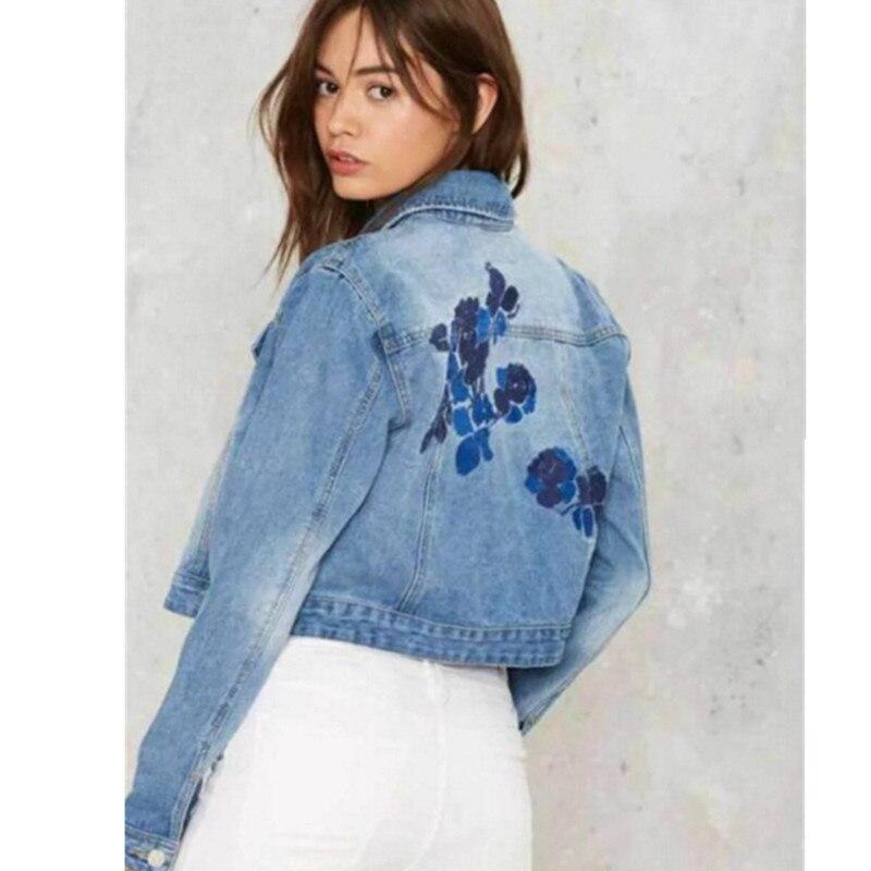 Vintage embroidery rose flower denim jacket