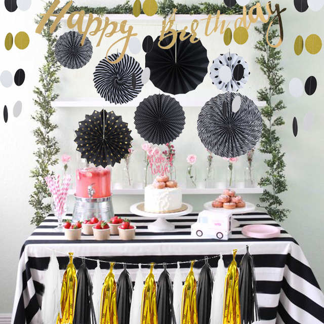 8pcs Set Resplendent Black Gold Birthday Party Decorations Happy Banner Paper Fans Tassel Garland Decor