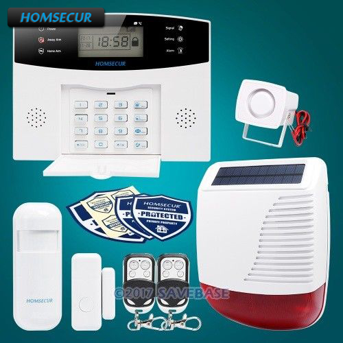 HOMSECUR Wireless LCD GSM Burglar Alarm System+Wireless Solar Red Flash Siren with Russian Voice Prompt homsecur wireless