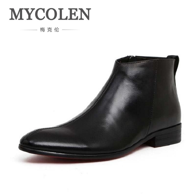 MYCOLEN New Winter Men Boots High Quality Genuine Leather Men Ankle Boots British Style Solid Lace-Up Mens Pointed Toe Boots