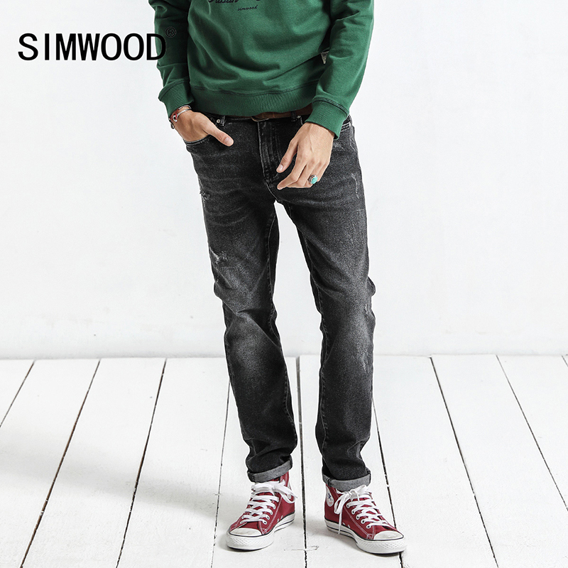 SIMWOOD 2019 Autumn Winter New Jeans Men Slim Fit Fashion Hole Denim Skinny Ripped Trousers Plus Size Casual  NC017015