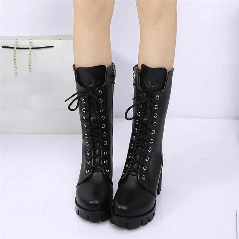 Muqgew Mùa Đông Giày Nữ Mắt Cá Chân Boot Da Hiệp Sĩ Dép Nữ Giày Khóa Kéo Da Bò Nữ Giày Nữ Zapatos De Mujer