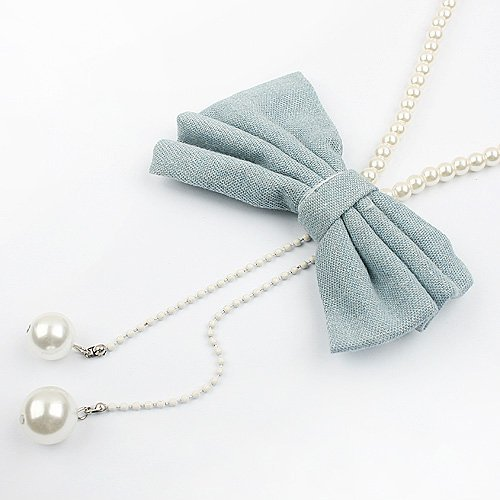 Free shipping(50pieces)+Korea style alloy and imitation pearl lady's beautiful bowknot necklace wholesale and retail