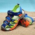 Летние Дети Пляжные Сандалии 2016 Детей Мальчики Резиновая Подошва скольжению Моды Сандалии Детей дышащие сандалии Размер 26-37
