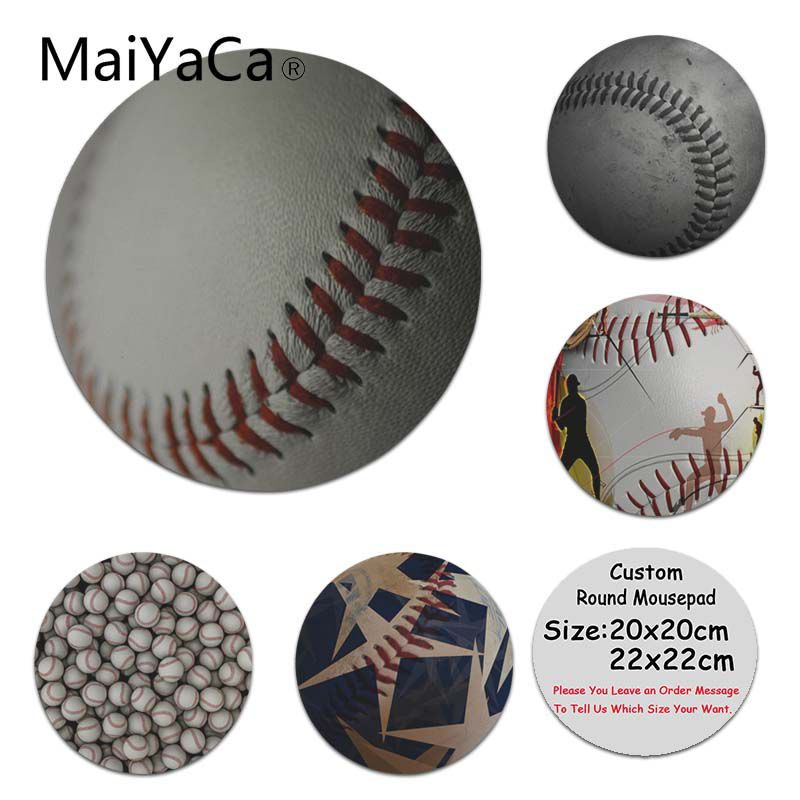 MaiYaCa Cool New Baseball Anti-Slip Durable Silicone Computermats Size for 200x200x2mm and 220x220x2mm Round Mousemats