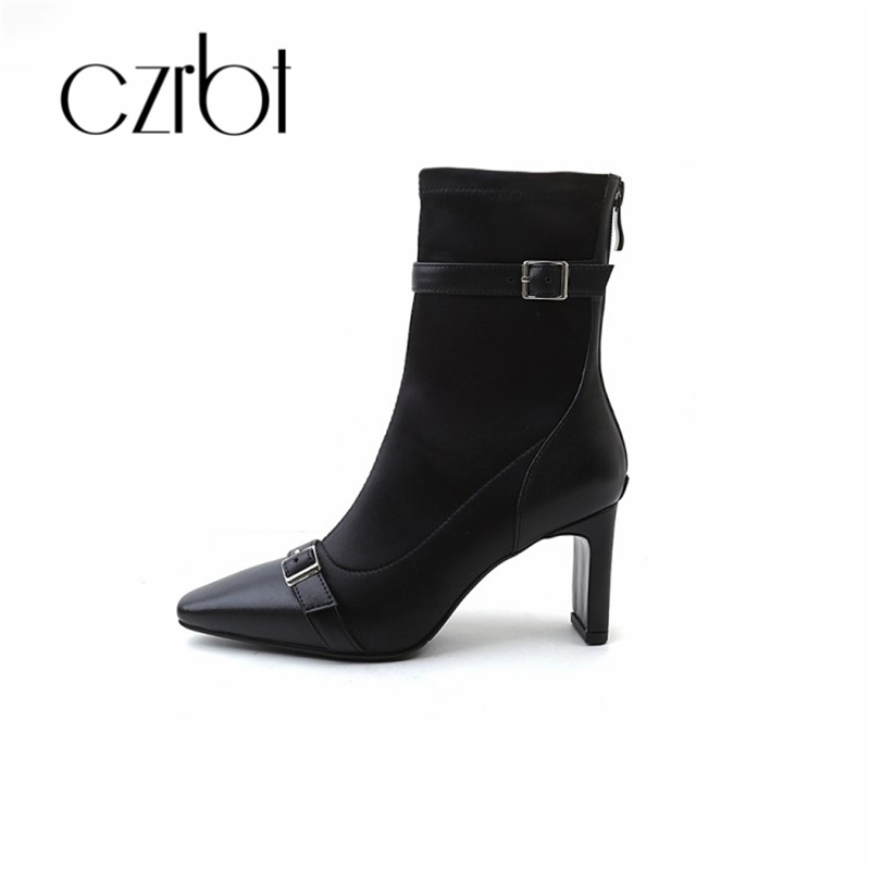 czrbt 2018 new leather women's boots square head belt buckle thick heel bootie zipper buckle middle barrel high heel цена