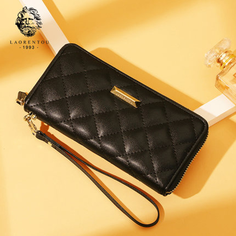 LAORENTOU Women Split Leather Long Wallets 2018 New Fashion Wallet Purse Retro Lady Wallet Simple & Stylish Women Long Purse