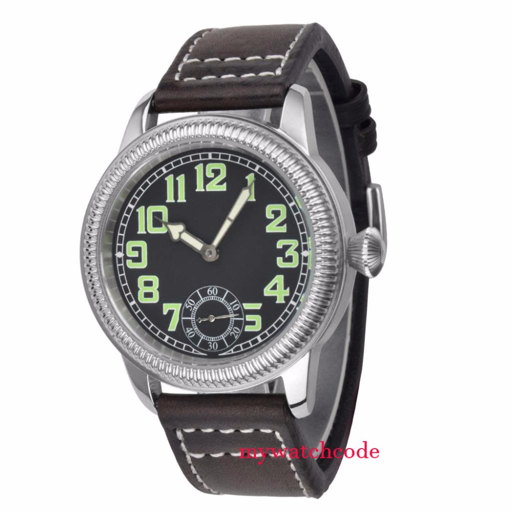 44mm parnis black sterile dial leather strap sea-gull 6498 hand winding mens watch цена и фото
