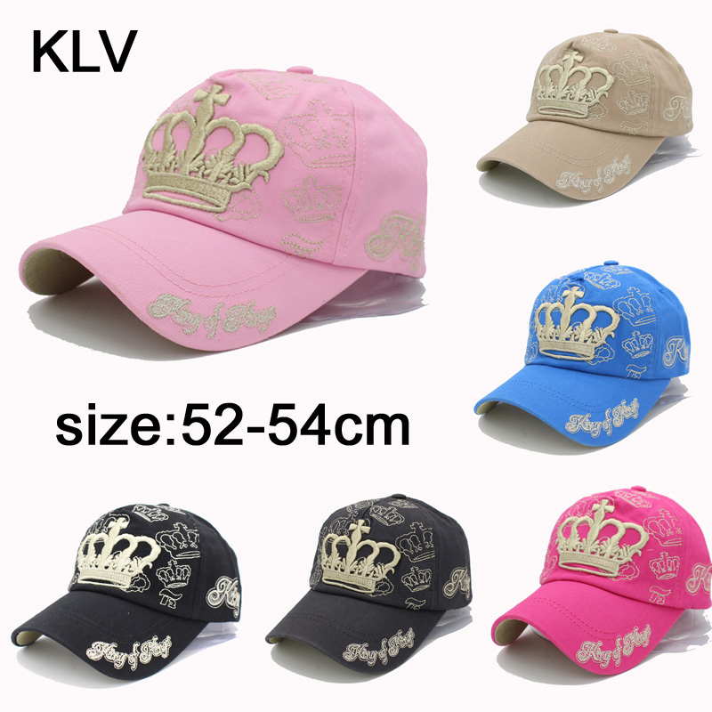 2017 Gold Embroidery Crown Baseball Cap Kid Excellent Qality Cotton Cap Kids Summer Snapback Caps For Girl 3-8 Year Old HT52051 gold embroidery crown baseball cap women summer cap snapback caps for women men lady s cotton hat bone summer ht51193 35