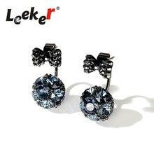 LEEKER Vintage boog kristallen bolvormige oorbellen voor vrouwen Bruiloft Sieraden accessoires oor grijs / groen / blauw 91220 LK10