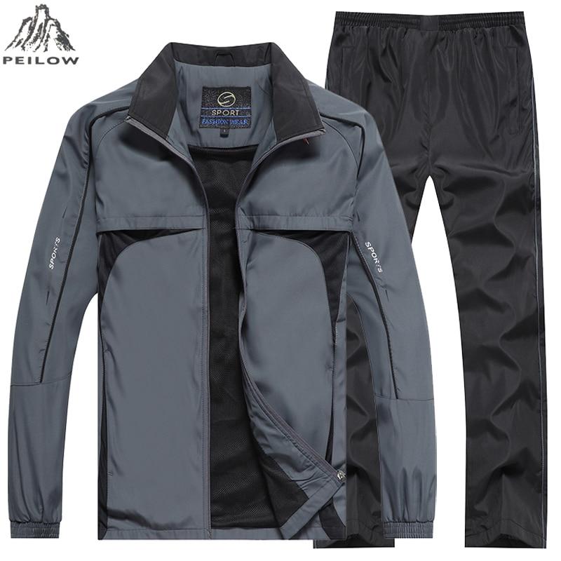 Mens Tracksuit Outwear Jacket Set 2PCS Autumn Spring Track Suit Male Mesh Lining Sweatshirts Jacket+Pants Sets Sweat Suits Men