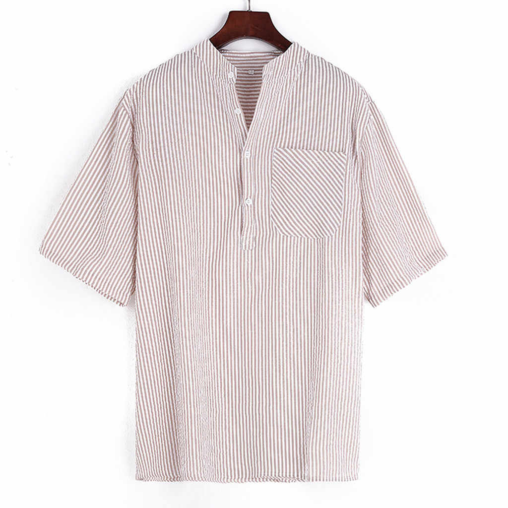 Womail Polo Shirt Men Summer Casual Short Sleeve  Stripe Buttons Pocket  Slim Fit Gift High Quantity polo men Fashion 2019 A10
