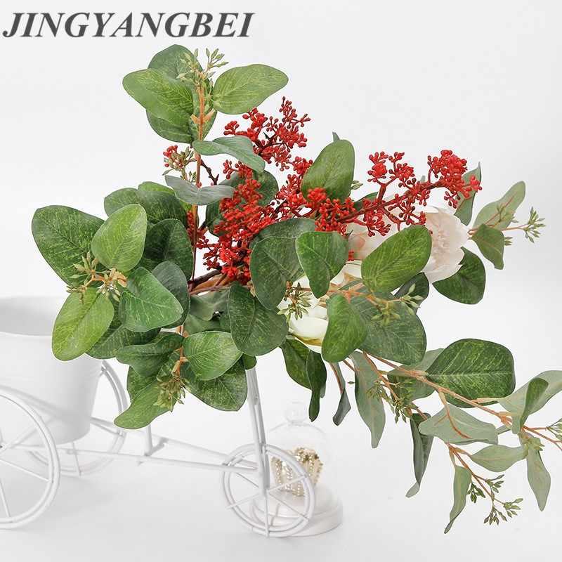 Fleurs artificielles pays-bas 83cm | Décor en feuille d'eucalyptus avec fruits, décoration de Table de maison, faux casier, fournitures pour fête de mariage