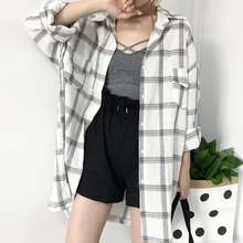 Women Vintage Plaid Print Lapel Shirt Summer Top Female Loose Single-breasted Casual Long Sleeve Sun Protection Blouse Long Coat