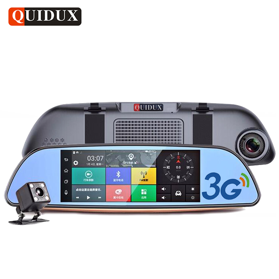 QUIDUX 7.0 3G Car Rearview Mirror Android DVR GPS Navigation FHD 1080P Video Camera Dual Lens camcorder Supports Bluetooth WIFI e ace car dvr android touch gps navigation rearview mirror bluetooth fm dual lens wifi dash cam full hd 1080p video recorder