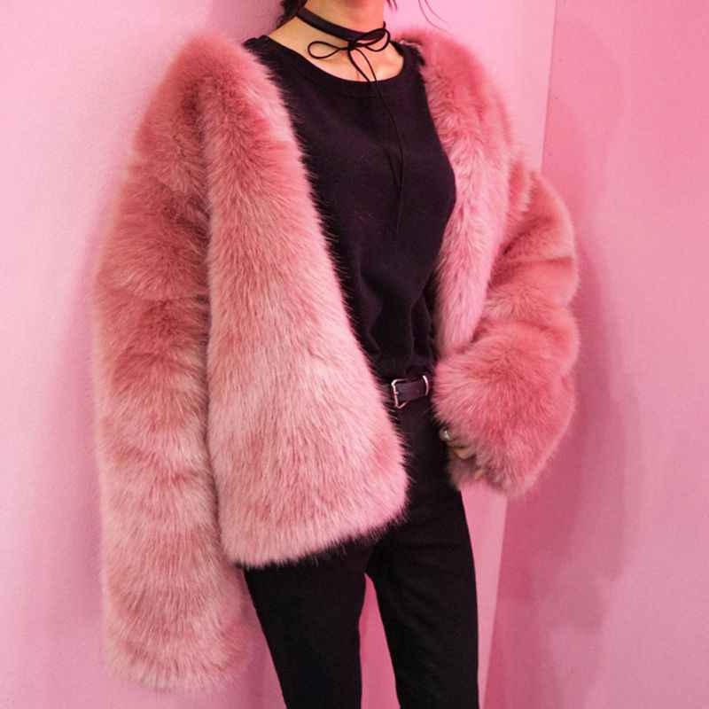 f9c6401d082 ... Ladies Faux Fox Fur Fashion Jacket Plus Size 3XL Winter Women Fur  Rabbit Fur Coat Fur ...