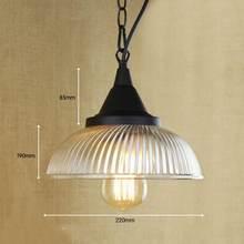 Lámpara para colgar de loft retro reciclada, lámpara colgante con diseño de cristal transparente con bombilla de luz de Edison, luces de cocina y luces de armario