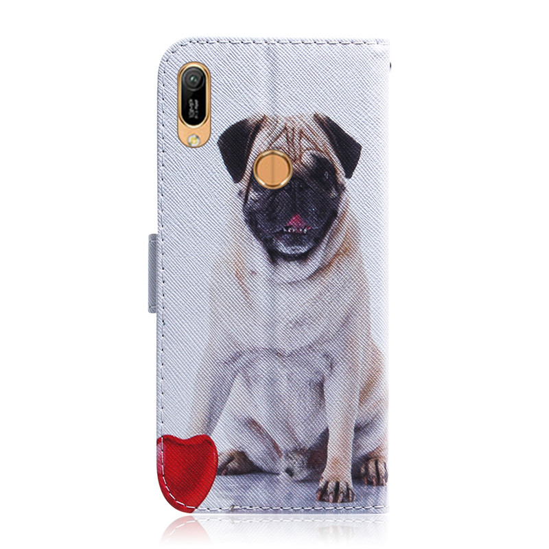 Y6 2019 Case on For Fundas Huawei Y7 2019 Case Flip Painted Leather Wallet Magnet Cases For Coque Huawei Y6 Y9 2019 Case Cover in Flip Cases from Cellphones Telecommunications