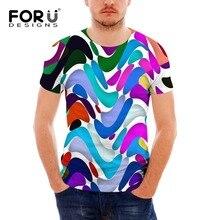 FORUDESIGNS T Shirt Men 3d Bright Color Printed t-shirts for man, Male fashion design tshirt 2017 summer mens brand-clothing