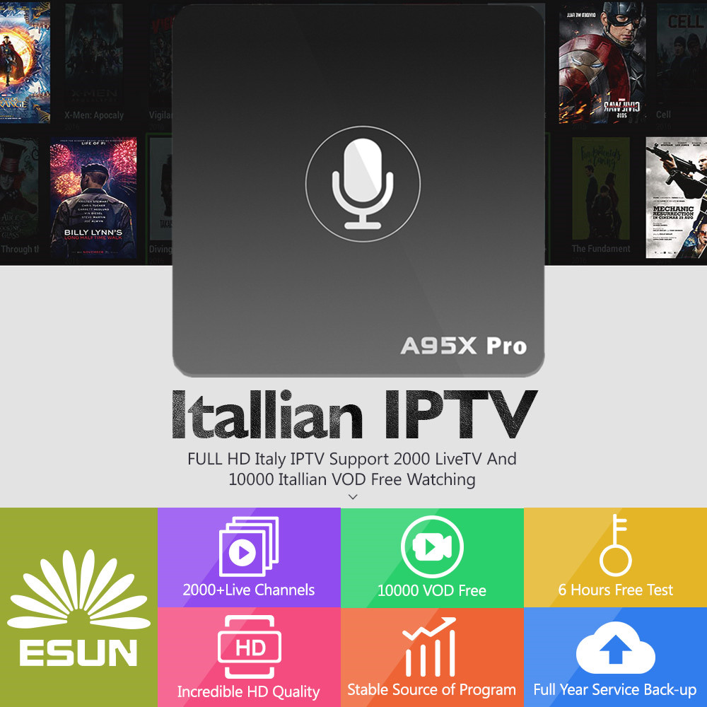 ESUNTV A95X Pro Voice Control Android 7.1 IPTV BOX 1Year Switzerland/Spain/Sweden/Germany/Albania/Italy/Portugal/EX-YU/EuropeVOD italy iptv a95x pro voice control with 1 year box 2g 16g italy iptv epg 4000 live vod configured europe albania ex yu xxx
