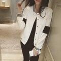 2016 новая Весна пальто цвета досуг свитер Корейский черный и белый цвет блока бейсбол равномерное куртку женщина кардиган