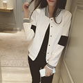 2016 new Spring coat colours leisure  sweater Korean black and white color block baseball uniform jacket female cardigan