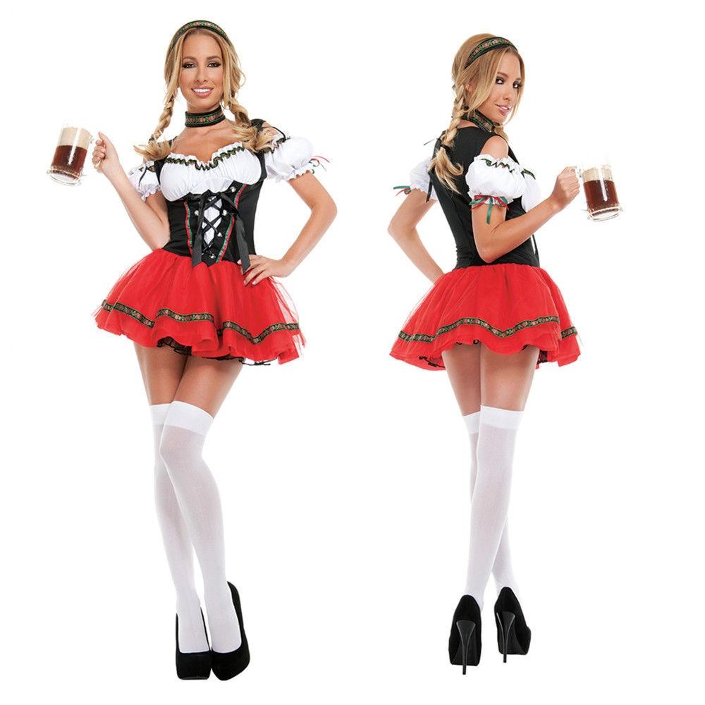 Ladies Sexy Oktoberfest Beer Girl Costume German Bavarian Beer Wench Fancy Dress