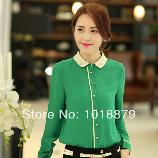 2f8b65f694ed48 2015 spring/summer business women plus size work wear chiffon shirts office  ladies long-sleeve green formal blouse free shipping