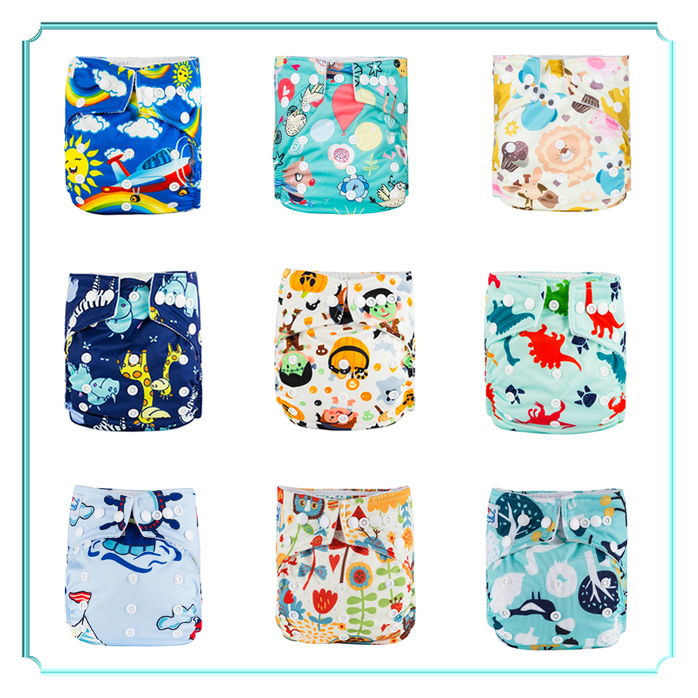 Babyland Ecological Diapers 8pcs Baby Cloth Nappies+8pcs Microfiber Inserts Absorbents Washable Diapers Reusabe Child Nappy New