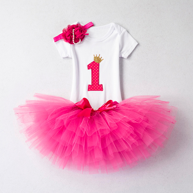 First Birthday Cake Smash Outfit Sets Romper Pettiskirt Headband