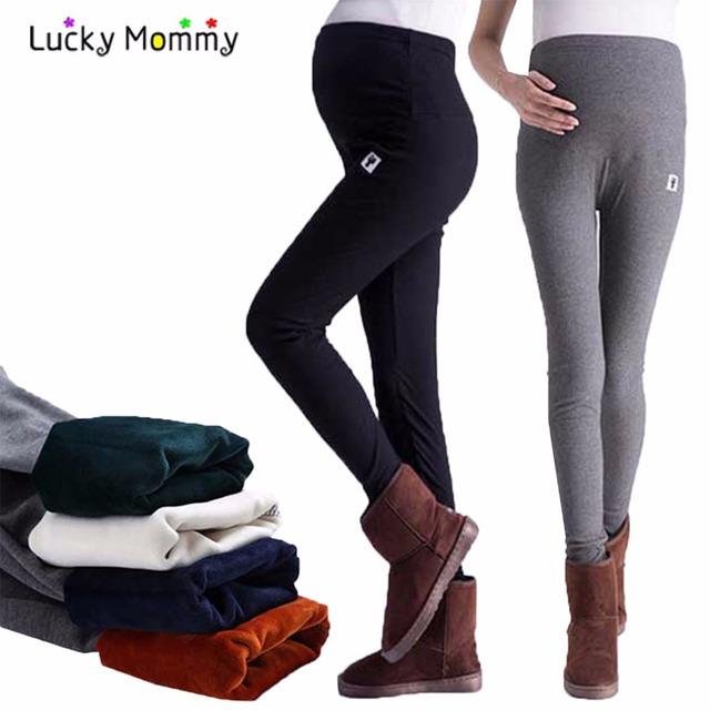 Macio e confortável Maternidade Leggings Inverno Quente Calças-cintura Alta Maternidade Roupas para Mulheres Grávidas Gravidez Roupas M-XXL