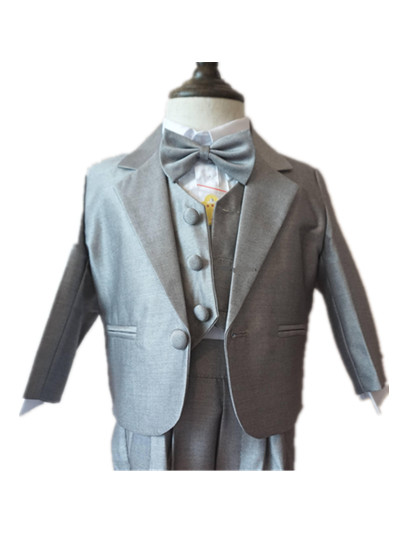 ФОТО formal gray newborn baby boy clothes 5pcs little suits for christening wedding birthday party clothing set  90210