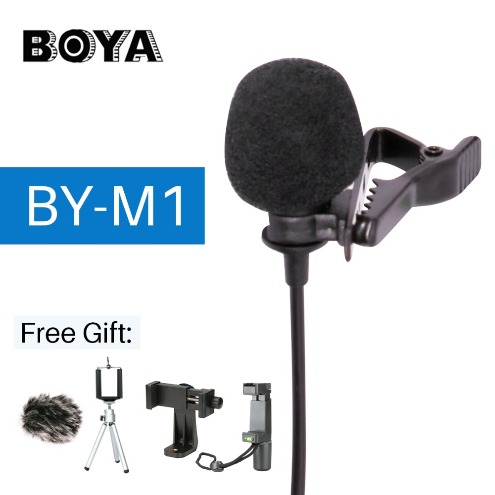 BOYA BY-M1 Lavalier Audio Video Microphone Clip-On Condenser Mic Recorder for iPhone X 8 Pkus Canon Nikon DSLR Zoom Camcorder  boya by wm5 lavalier clip on mic audio studio recorder wireless microphone microfone for canon sony gopro dslr camera camcorder