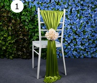 Outdoor Wedding Party Event Decor Chiavari Banquet Chair Cover Ice Silk Handmade Many Color Big