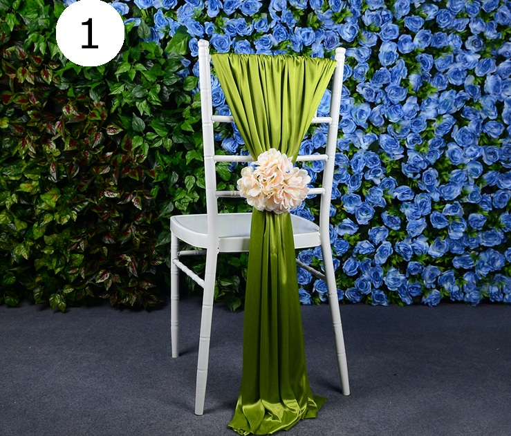 outdoor wedding party event decor Chiavari banquet Chair cover ice silk handmade many color big flower Sash