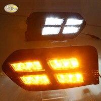 LED Daytime Running Lights For Honda City 2017 2018 Fog Lamp 4 Eyes LED With Yellow