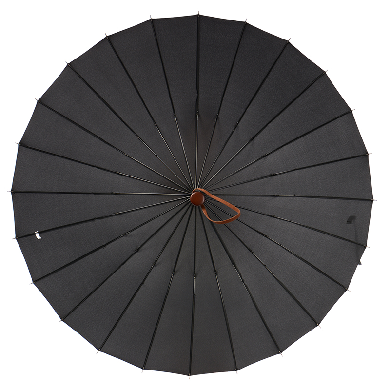 112cm open diameter Hand open 24 ribs solid colour antique wooden business windproof umbrella commercial waterpoof car rain gear