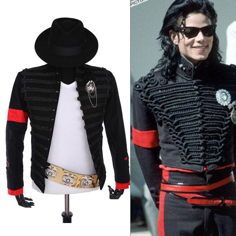 Редкие панк торжественное платье Классический английский стиль МД Майкл Джексон костюм военная Униформа куртка пояс шляпа для вентиляторы