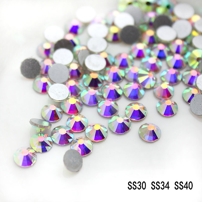 Top Quality SS30 SS34 SS40 SS50 Crystal AB Silver Plated Flat Back 3D Non Hotfix Sticker Glue On Rhinestones Art Nail.