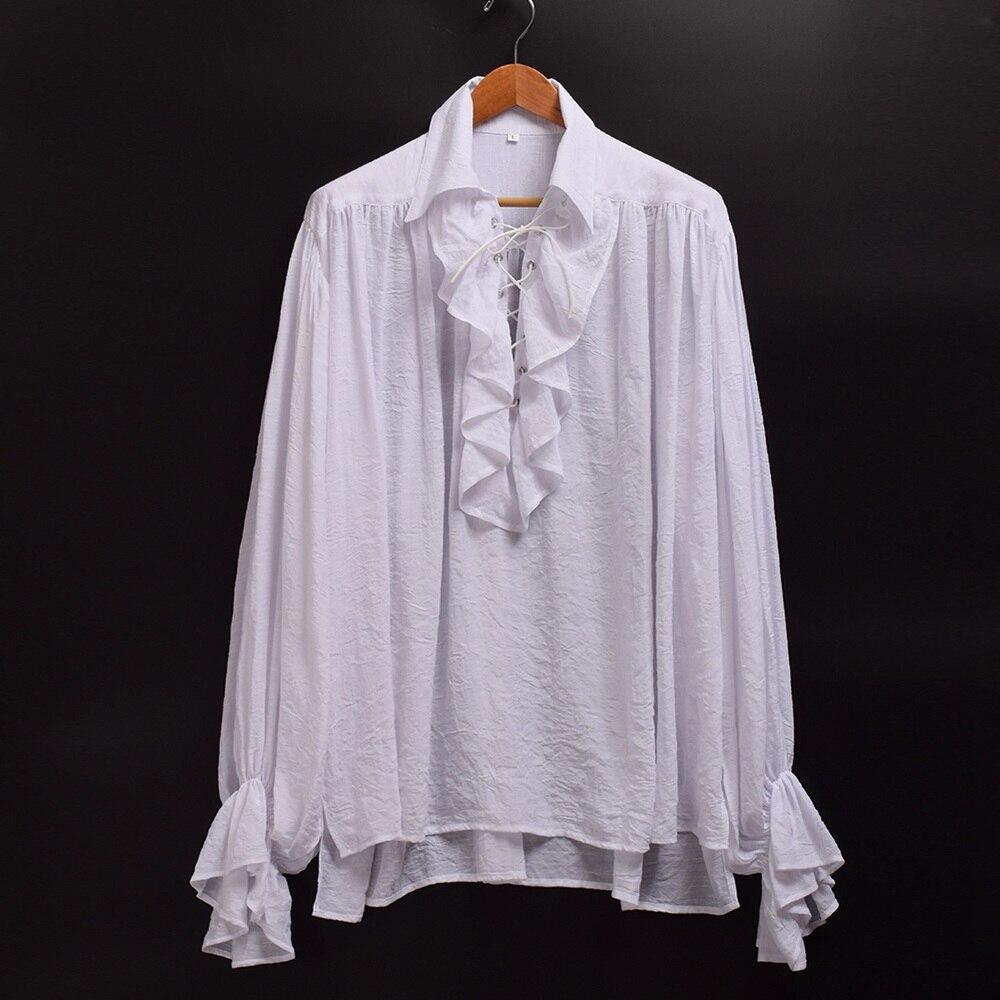 5ba58b6a07d090 Medieval Shirt Vintage Men White Black Renaissance Scottish Poet Vampire  Colonial Ruffles Jabot Blouse Long Sleeve Pirate Shirts-in Casual Shirts  from Men's ...