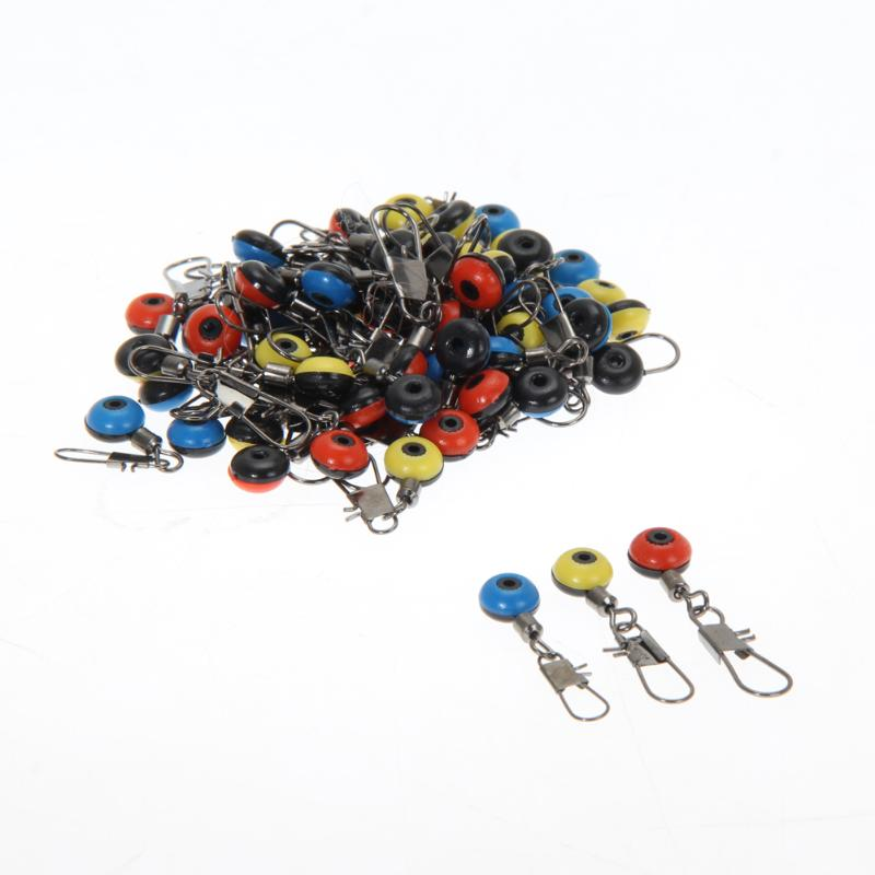 60pcs Space Beans Fishing Connector Float Connector Rolling Swivel Fishing Equipment Running Ledger Fishing Accessories