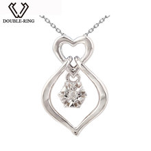DOUBLE-R Heart Necklaces Pendants Women 0.01ct Diamond 925 Sterling Silver Pendants Romantic Christmas Gift Real Brand Jewelry