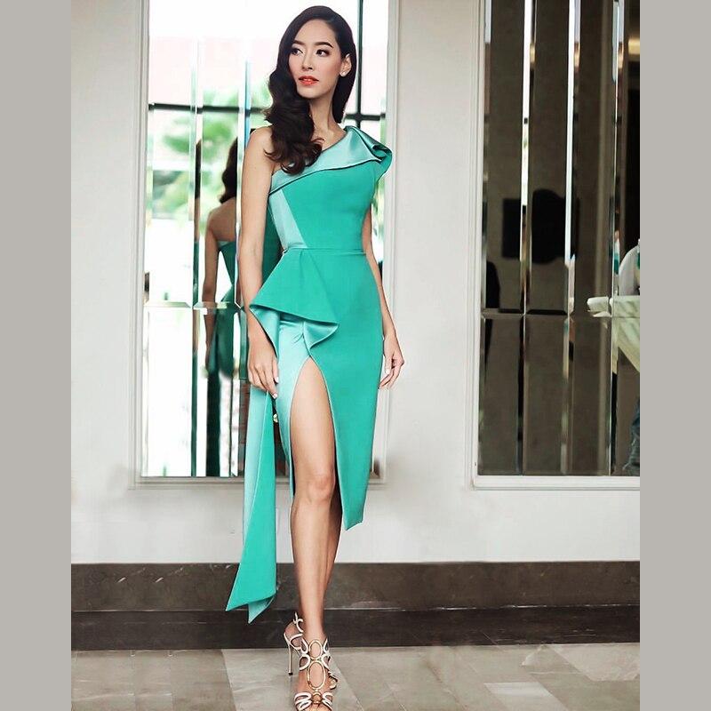 2018 Neue Ankünfte Sommer Frauen Kleid Großhandel Grün Nude One Schulter Drapiert Kleid Party Kleid Kleid Anzug 100% Garantie Anzüge & Sets