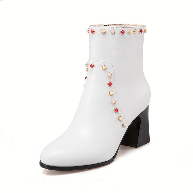 Kuh Zyl710 white Ankunft red Enmayer Leder Platz Top Qualität Frauen Ferse Stiefel Solide Dame Zip Neue Kappe Stiefeletten Runde Black aBnXqx4