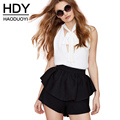 HDY Haoduoyi Solid Black Fashion Shorts Women High Waist Loose Female Bodycon Shorts Casual Pleated Slim Zippers Shorts