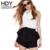 Hdy haoduoyi sólido negro moda shorts mujeres de cintura alta loose mujer bodycon shorts casual plisado delgado cremalleras pantalones cortos